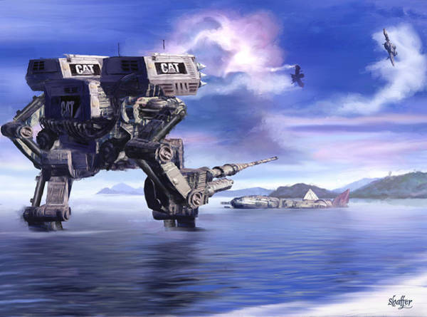 Space Ship Mixed Media - 501st Mech Defender by Curtiss Shaffer