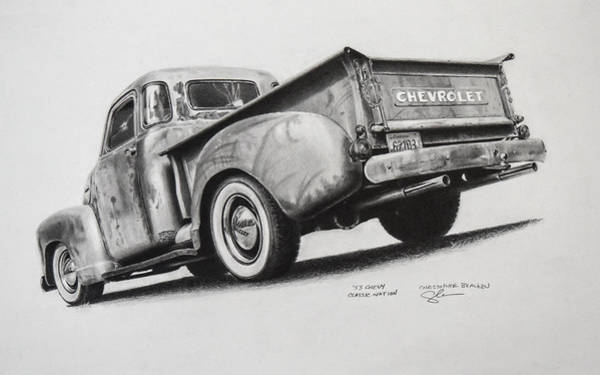 Old Chevy Truck Drawing - 53 Chevy Truck by Christopher Bracken