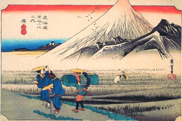 Wall Art - Painting - 53 Stations Of The Tokaido - Hara, Mount Fuji In The Morning by Utagawa Hiroshige