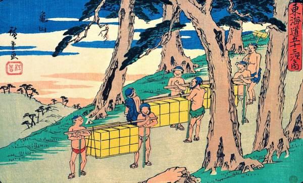 Transporter Wall Art - Painting - 53 Stations Of The Tokaido - Kameyama by Utagawa Hiroshige