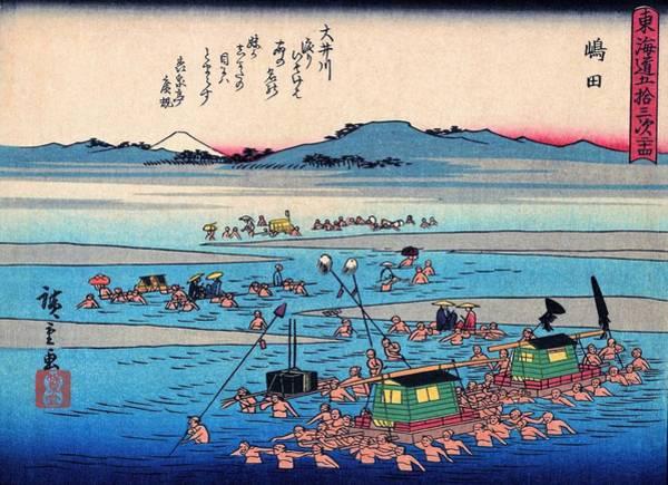Transporter Wall Art - Painting - 53 Stations Of The Tokaido - Shimada by Utagawa Hiroshige