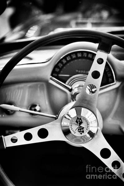 Photograph -  57 Chevrolet Corvette Steering Wheel by Tim Gainey