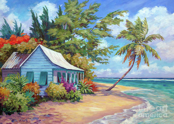 Waters Edge Wall Art - Painting - 5x7 Cottage At The Water's Edge  by John Clark