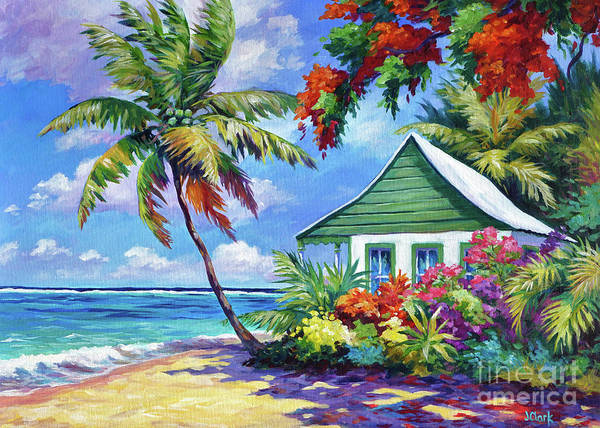 Wall Art - Painting - 5x7 Green Cottage On The Beach by John Clark