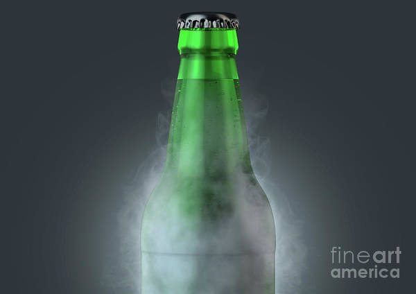 Wall Art - Digital Art - Beer Bottle With Condensation by Allan Swart