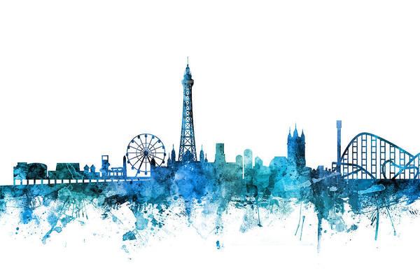 Wall Art - Digital Art - Blackpool England Skyline by Michael Tompsett