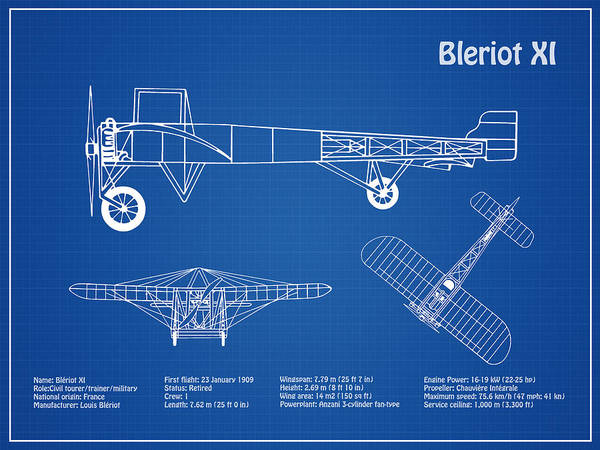 Vintage Airplane Drawing - Bleriot Xi Airplane Blueprint. Drawing Plans Or Schematics With Design Outline For The Bleriot Xi  by JESP Art and Decor