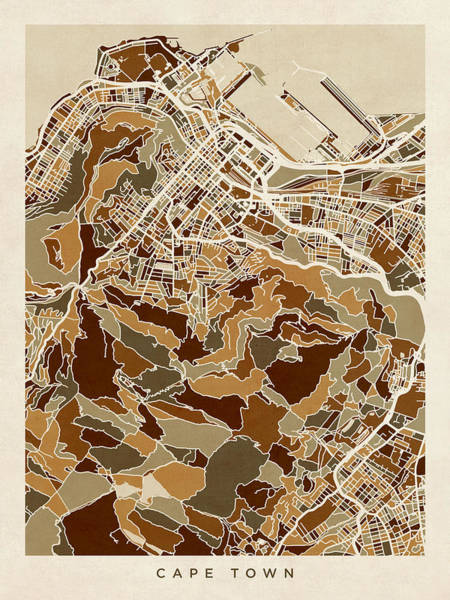 Wall Art - Digital Art - Cape Town South Africa City Street Map by Michael Tompsett