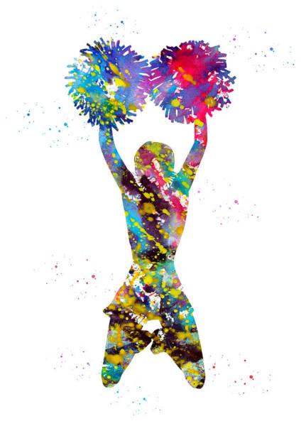 Wall Art - Digital Art - Cheerleader With Pompoms by Erzebet S