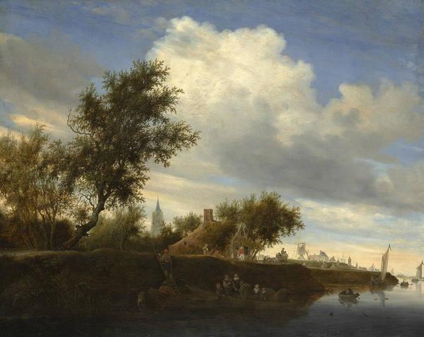 Wall Art - Painting - Ferry Near Gorinchem by Salomon van Ruysdael