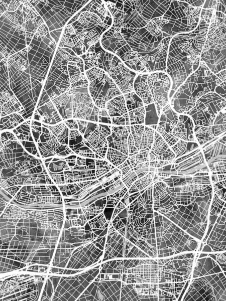 Wall Art - Digital Art - Frankfurt Germany City Map by Michael Tompsett