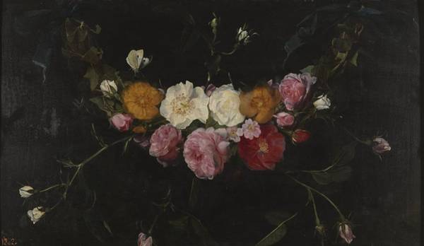 Wall Art - Painting - Garland Of Roses by Daniel