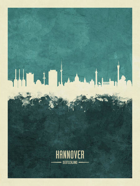 Wall Art - Digital Art - Hannover Germany Skyline by Michael Tompsett