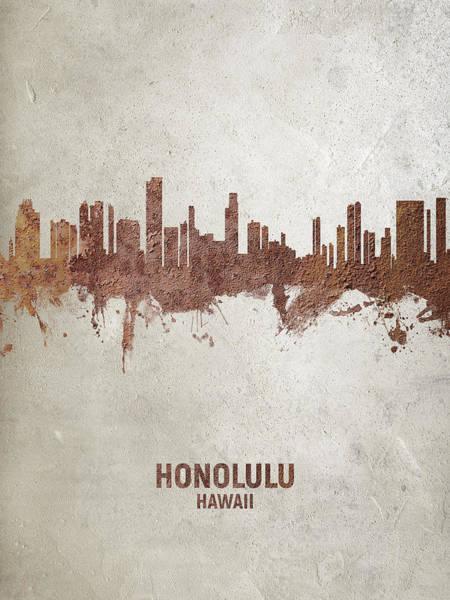 Wall Art - Digital Art - Honolulu Hawaii Skyline by Michael Tompsett