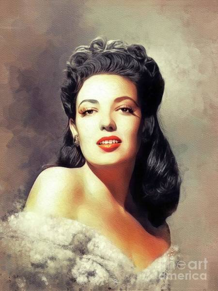 Wall Art - Painting - Linda Darnell, Vintage Movie Star by John Springfield