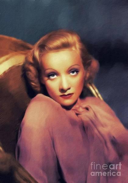 Wall Art - Painting - Marlene Dietrich, Vintage Movie Star by John Springfield