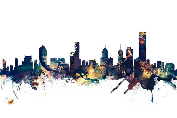 Wall Art - Digital Art - Melbourne Australia Skyline by Michael Tompsett
