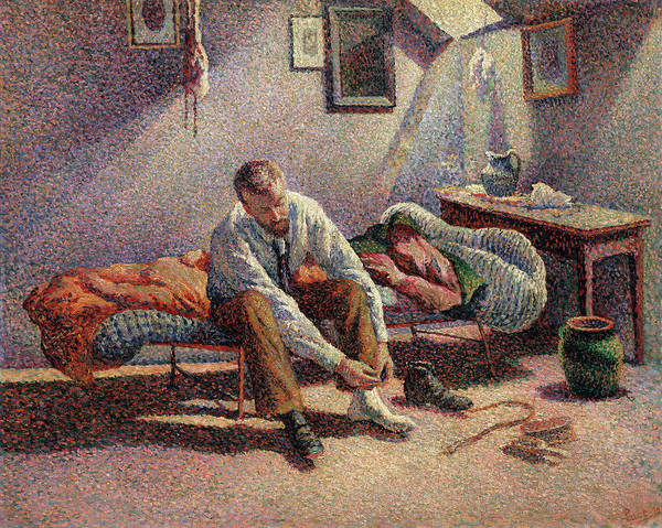 Wall Art - Painting - Morning, Interior by Maximilien Luce