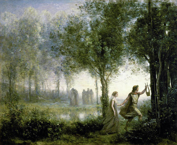 Wall Art - Painting - Orpheus Leading Eurydice From The Underworld -  by Jean-Baptiste Camille Corot