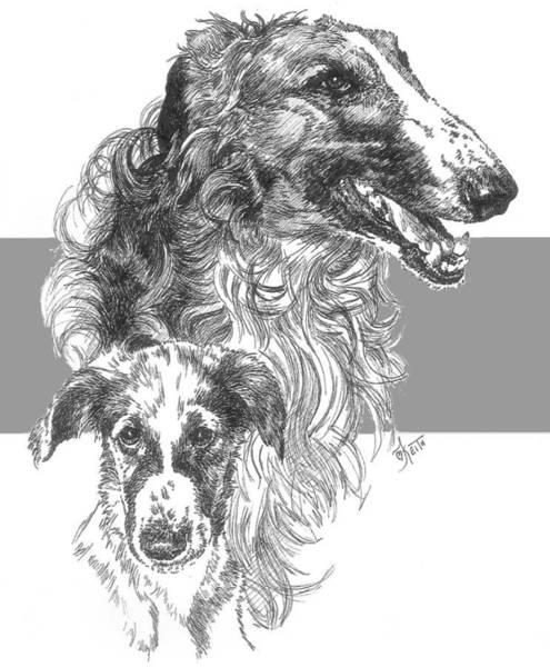 Drawing - Borzoi And Pup by Barbara Keith