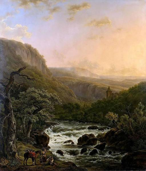 Wall Art - Painting - River In The Ardennes At Sunset by Henri van