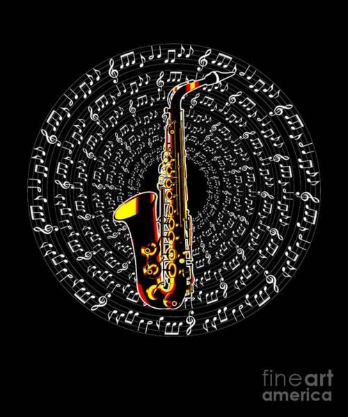 Wall Art - Digital Art - Saxophone Brass Instrument Jazz Band Musician Gift by MUC Designs