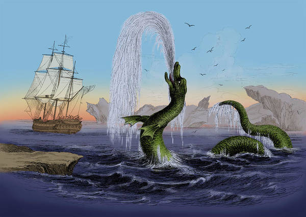 Wall Art - Photograph - Sea Serpent, Legendary Monster by Science Source
