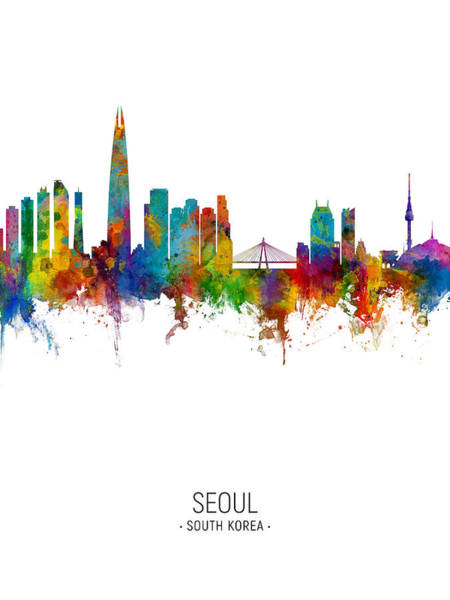 Wall Art - Digital Art - Seoul Skyline South Korea by Michael Tompsett