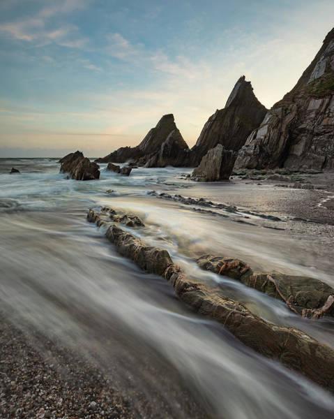 Wall Art - Photograph - Stunning Sunset Landscape Image Of Westcombe Beach In Devon Engl by Matthew Gibson