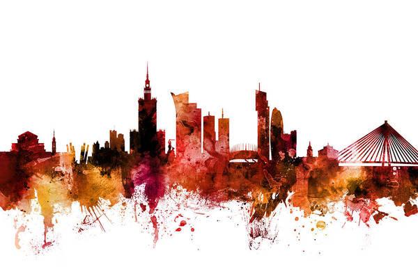 Digital Art - Warsaw Poland Skyline by Michael Tompsett