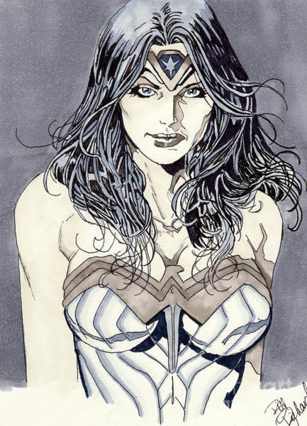 Drawing - Wonder Woman by Bill Richards