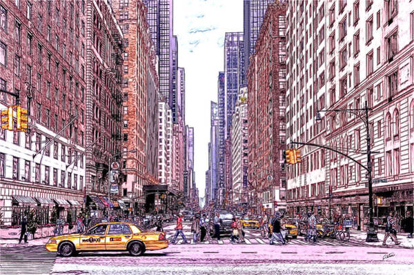 Drawing - 6th Avenue And Central Park South, Manhattan  - Dwp185352 by Dean Wittle