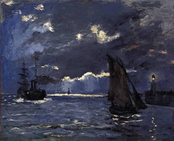 Wall Art - Painting - A Seascape, Shipping By Moonlight by Claude Monet