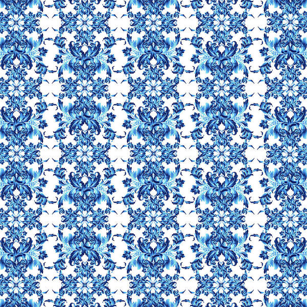 Dior Digital Art - Blue Flowers Versace Style By Vppdgryphon by VPPDGryphon
