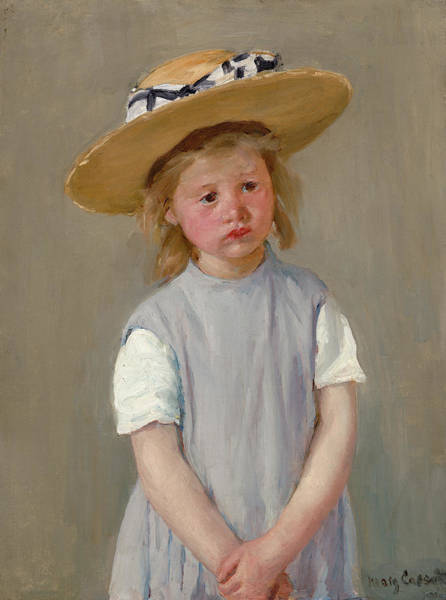 Wall Art - Painting - Child In A Straw Hat by Mary Cassatt