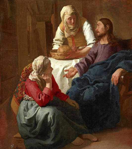 Wall Art - Painting - Christ In The House Of Martha And Mary by Johannes Vermeer
