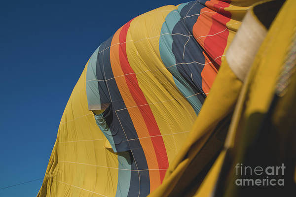 Colorful Balloons Flying Over Mountains And With Blue Sky Art Print