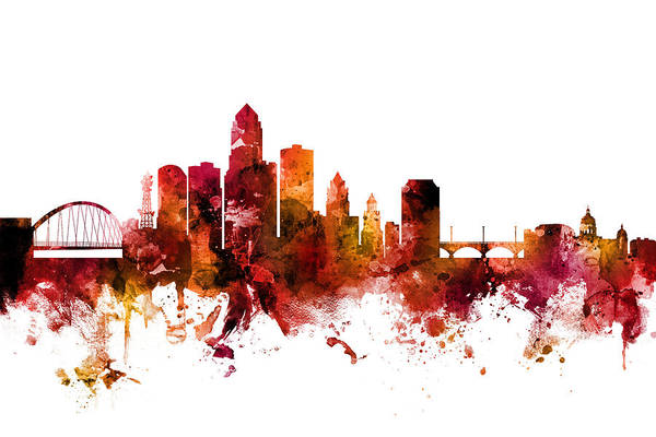 Wall Art - Digital Art - Des Moines Iowa Skyline by Michael Tompsett