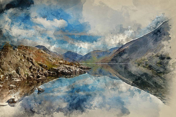 Wast Wall Art - Photograph - Digital Watercolor Painting Of Stunning Landscape Of Wast Water  by Matthew Gibson