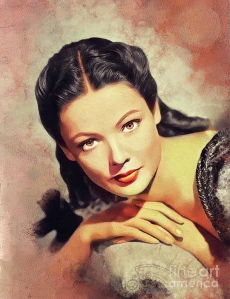 Wall Art - Painting - Gene Tierney, Vintage Actress by John Springfield