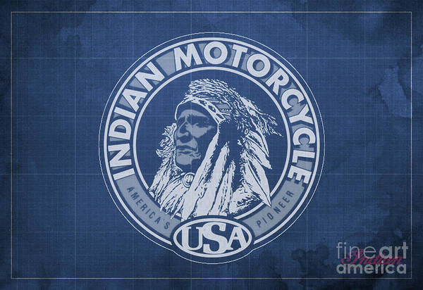 Wall Art - Digital Art - Indian Motorcycle Old Logo Vintage Background by Drawspots Illustrations