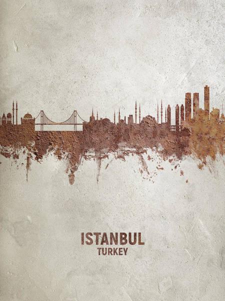 Wall Art - Digital Art - Istanbul Turkey Skyline by Michael Tompsett