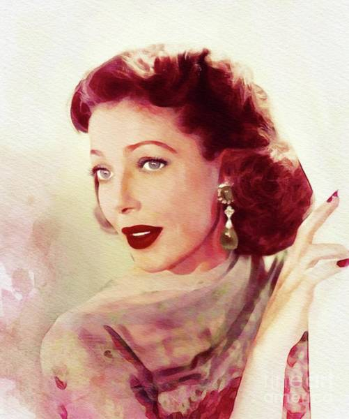Wall Art - Painting - Loretta Young, Vintage Movie Star by John Springfield