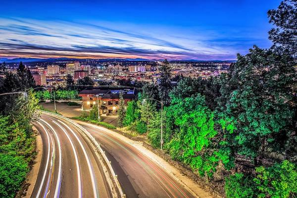 Photograph - Panoramic View Spokane Washington Downtown City Skyline by Alex Grichenko