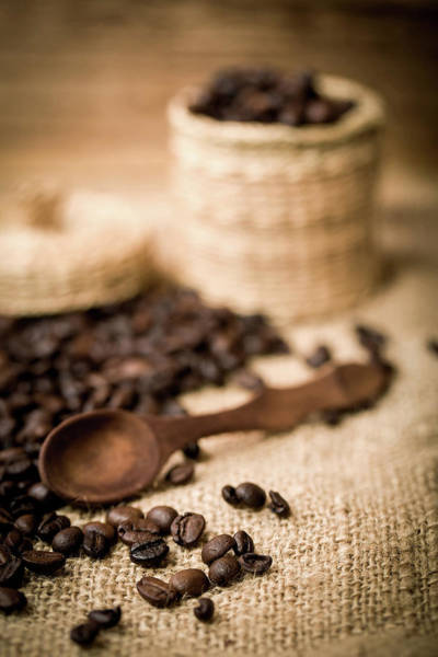Wall Art - Photograph - Pile Of Fresh And Bio Aromatic Coffee Beans And Spoon by Artush Foto