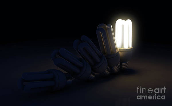 Wall Art - Digital Art - Single Light Bulb Illuminated In Row by Allan Swart