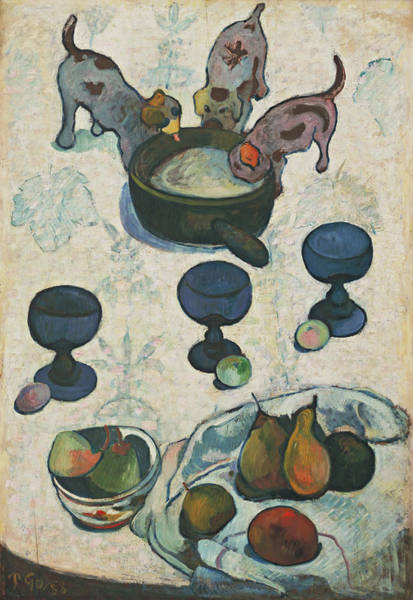 Wall Art - Painting - Still Life With Three Puppies -  by Paul Gauguin