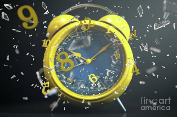 Wall Art - Digital Art - Table Clock Time Smashing Out by Allan Swart
