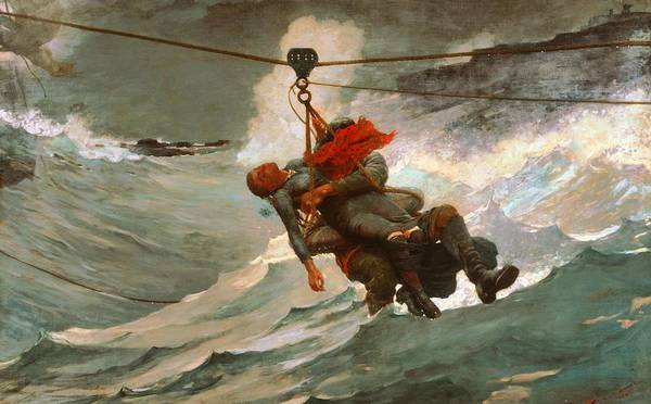 Saving Painting - The Life Line by Winslow Homer