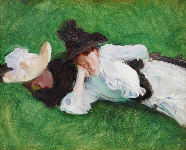 Wall Art - Painting - Two Girls On A Lawn by John Singer Sargent